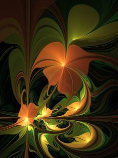 Fantasy Plant, Abstract Fractal Art Art Print