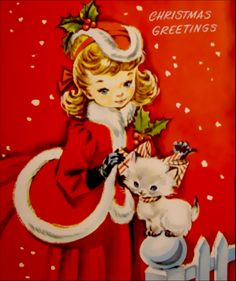 A kitten greets a pretty girl in holiday finery in this charming vintage Christmas card scene.