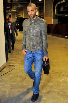 Worst horrible terribleness: Tony Parker,NBA Player once married to Eva Longoria, Expel all of the air from your lungs. Then scroll down, breathe in deeply, and take in the sweet scent of this incredible bomber jacket / dad jeans combination. If you're interested in the briefcase, I believe it's available at the Office Depot for $159.