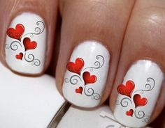 20 pc Valentines Day Hearts Nail Art Nail Decals Nail Stickers Lowest Price On Etsy #cg4376na