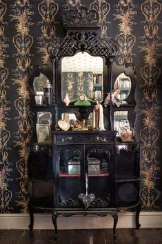 Inside Pearl Lowes world: addiction, lace and Mother Mary figurines - Telegraph And a fairy doll by Nostalgia at (top shelf, right) Living Room Designs, Living Room Decor, Pearl Lowe, Interior Decorating, Interior Design, Dark Interiors, Gothic House, Dream Decor, Home Decor Inspiration