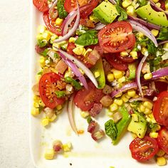Tomato, Corn and Avocado Salad with Spicy Vinaigrette #recipe