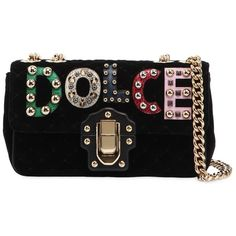 Dolce & Gabbana Women Small Lucia Velvet Bag W/ Logo Patches (9.390 RON) ❤ liked on Polyvore featuring bags, handbags, shoulder bags, black, chain strap purse, kiss-lock handbags, dolce gabbana purses, embellished handbags and locking purse