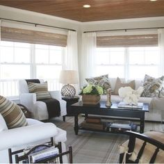 Cottage Living Room Design, Pictures, Remodel, Decor and Ideas--sun room ideas for relaxing at the lake. Love the natural look! Make it your room with Made in the Shade Blinds Saskatoon! Like the wide shades Cottage Living Rooms, My Living Room, Living Room Interior, Home And Living, Living Spaces, Coastal Living, Country Living, Coastal Entryway, Cottage Kitchens