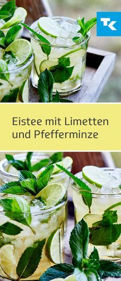 Eistee mit Limetten und Pfefferminze – die Allzweck-Waffe im Sommer. Iced tea with lime and peppermint - the all-purpose weapon in summer. While limes provide us with many important minera Smoothies Banane, Apple Smoothies, Strawberry Smoothie, Strawberry Banana, Healthy Smoothies, Smoothie Prep, Smoothie Recipes, Headache Remedies, Tea Bowls