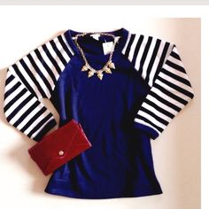 HP! J. Crew Navy Top NWT J. Crew mixed media top. Navy, sweatshirt material body with black and white striped, polyester, 3/4 length sleeves. Bracelet cuff. Machine washable. Boxy fit. Versatile addition to any wardrobe. New with tags.  3/20/15 Work Week Chic Party Host Pick  J. Crew Tops