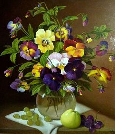 Still life painting with pansies