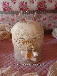 My Romantic Creations Shabby Chic, Needle Book, Sewing Accessories, Sewing Notions, Hat Pins, Pin Cushions, Couture, Fiber Art, Fabric Crafts