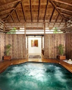 Florblanca Resort  ( Santa Teresa, Costa Rica )  Admire the lush jungle surrounds from behind bamboo beams in the giant Jacuzzi at Spa Bambu. #Jetsetter