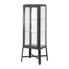 Buy IKEA FABRIKOR Glass-door Cabinet in DarkGrey. With a glass-door cabinet you can show off as well as protect your glassware or your favourite collection. Bathroom Gallery, Glass Door, Ikea, Ikea Fabrikor, Display Cabinet, Sideboard Cabinet, Glass Cabinet Doors, Cabinet Lighting, Display Cabinets Ikea