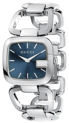 This stylish women's watch from Gucci features a polished rose goldtone stainless steel case with a matching link bracelet. The black dial is home for two silvertone hands and three diamond markers fo