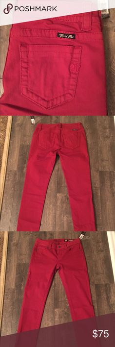 Size 27! NWT Red Miss Me jeans! NWT Miss Me jeans. Mid-rise skinny - 30 inch inseam. Smoke free home - next day shipping. No trades or holds. Price is firm. Retail $89.50. Check my other listings for other sizes! All jeans come to me in plastic. Removed from plastic to photograph. All first quality - no defects. Miss Me Jeans Skinny