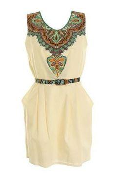 Love Green Masai Tribal Print Cotton Dress With Belt Beige Dresses, Cotton Dresses, Casual Dresses, Fashion Dresses, Tribal Print Dress, Tribal Fashion, Asos Fashion, Dress Me Up, Spring Summer Fashion