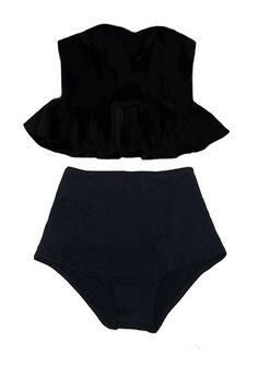 Black Long Top and Black High waisted waist Bottom Bikini Two piece Two-piece set Swimsuit Swimwear Swim Bathing suit dress wear suits S M L by venderstore on Etsy https://www.etsy.com/listing/217939704/black-long-top-and-black-high-waisted
