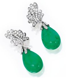 Pair of Platinum, Emerald and Diamond Earclips, Verdura, Sothbey's Magnificent Jewels from the Collection of Mrs. Charles Wrightsman – New York – December 5th, 2012