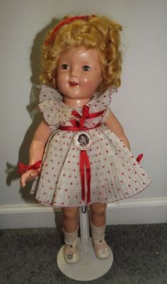 """Shirley Temple 18"""" Composition Doll Red & White Polka Dot Dress Original Box .  #Dolls"""