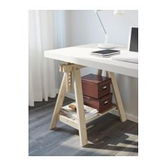 IKEA - LINNMON / FINNVARD, Table, white, , You can choose a flat or tilted table top, which is good for writing, painting or drawing, by adjusting the trestle.Plenty of room on the shelf under the trestle for your printer, books or papers. That keeps your table top clear so you have more room to work.