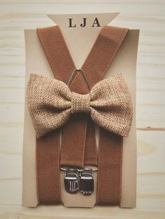Khaki burlap bow tie for Men's brown suspenders for groomsmen Rustic wedding outfit for ring bear er baby boys bow tie suspender set LondonJ by LondonJaeApparel on Etsy https://www.etsy.com/listing/543632828/khaki-burlap-bow-tie-for-mens-brown