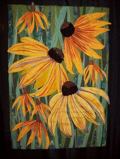 FLOWER QUILT..........PC......  ............Black Eyed Susans and Yellow Mexican Hats Mary Ann Vaca Lambert Award Winning Quilts at Quilt Market