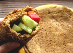"Flax wraps from  ""Wheat Belly Diet"".  Nutritional Info Serv Per Recipe: 1 Cal: 224.8 Total Carbs: 6.3 g Dietary Fiber: 6.0 g  Ingredients 3 Tbsp ground flaxseed 1/4 tsp baking powder 1 Tbsp coconut oil 1 large egg 1 Tbsp water Mix dry ingr in snack baggies. Add wet ingredients. Grease a 9"" plate w coconut oil and microwave for 2 min, flip and cook for 40 sec.Make savory by adding herbs, paprika, onion powder, garlic powder.Sweet w sweetener & cinnamon  with SF pancake syrup. Peanut butter…"