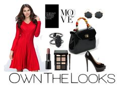 """""""Red Princess Cut Midi Dress"""" by ownthelooks on Polyvore featuring Kendra Scott, Giorgio Armani, Bobbi Brown Cosmetics, red, dresses, fashionblogger and ownthelooks"""