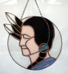 STAINED GLASS INDIAN, NATIVE AMERICAN WINDOW PANEL
