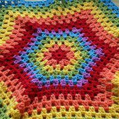 Bright Rainbow Hexagon Granny Stripes Blanket
