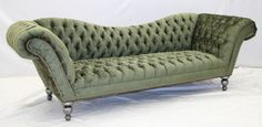 """Ashcombe Tufted Velvet Sofa - A sumptuous perch is hand crafted by furniture artisans to endure for generations. This opulent Victorian classic design is appointed with brass nails and invites the body to languor comfortably. Olive or Plum. 34 x 105 x 33"""""""