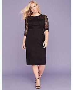 0128ffbd Lace-Sleeve Ponte Sheath Dress - 352858 Plus Size Wedding Outfits, Lace  Sleeves,. Lane Bryant