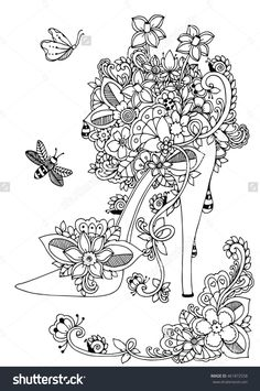 zentangle women high heel shoe with flowers doodle drawing coloring book anti stress 461872558