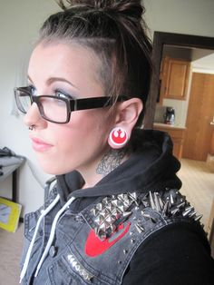 "Handmade ""Rebel Scum"" Star Wars denim vest and Rebel Alliance ear plugs | nrrrdcakkke"