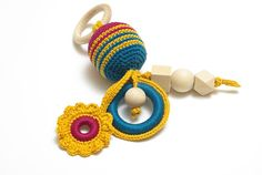 Sensory toy crochet baby toy baby rattle baby teething toy
