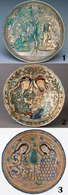 """Blind imitation Zoroastrian art, In the Islamic era. """"samanid, Seljuk, ..."""" 1- sassanian silver gilded plate , 4-5th cen AD, Miho museum, japan. 2- Bowl, Mina'i (""""enameled"""") ware Date: late 12th–early 13th century Culture: Iran Medium: Composite body, stain-and overglaze-painted Dimensions: Diameter: 7 3/8 in. (18.8 cm.) 3- Kashan mina'i ware bowl, Iran, 12th-13th century"""