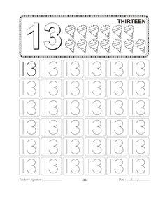 Number Tracing worksheet - 13