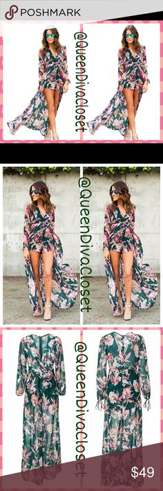 "Floral Chiffon Hi lo Long Sleeve Romper Maxi Dress Set out to be ""gone with the wind fabulous"" in this unique one of a kind long sleeve romper dress. Features a deep v neckline, drawstring ties at sleeve hems, rear zip closure, high low style train. Fully lined. Marked (Asian) size XXXL will fit up to a 13/14 comfortably. New from factory. Firm price/ no offers  Dresses High Low"