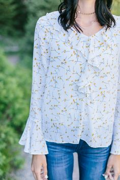 Floral Ruffle Blouse- Ivory/Mustard | | THE ROSE NEST