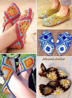 Stylish Easy Crochet: Crochet Slippers Pattern - Using Crochet Granny Squares by mallory Crochet Slipper Pattern, Granny Square Crochet Pattern, Crochet Squares, Crochet Patterns, Granny Squares, Crochet Granny, Crochet Ideas, Crochet Crafts, Easy Crochet