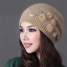 Fashion 2019 New Keep Warm Winter Hat Beanies Fur Rabbit Knitted Hat The Female Thickening Ski Hat Beanies Hats For Women Girls Rich And Magnificent Apparel Accessories