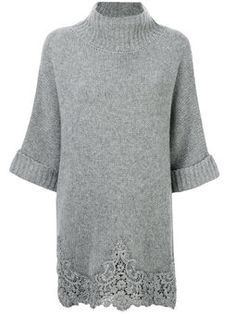 Ermanno Scervino Wool Blend Cable Knit Cardigan W/ Fur In Grey Summer Knitting, Lace Knitting, Knitting Patterns Free, Knit Patterns, Knitting Sweaters, Knitwear Fashion, Knit Fashion, Crochet Woman, Knit Crochet