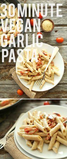 30 Minute Creamy Vegan Garlic Pasta! Simple, natural ingredients yield a luxurious, flavorful #vegan sauce!