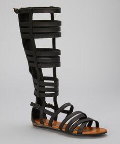 Look at this #zulilyfind! Black Blend Gladiator Sandal by TOP MODA #zulilyfinds