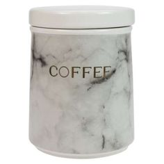 Part of a coordinating set, this sugar canister, made from durable earthenware, features a stylish marble effect design decorated with gold text that reads 'sug. Sugar Canister, Coffee Canister, Canister Sets, Seal Design, Design Design, Kitchen Canisters, Kitchen Storage, Tablet Holder, Marble Effect