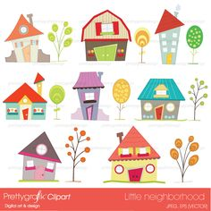 16 little neighborhood houses and trees clip art, great for party invitations, birthday cards, scrapbooking projects and more.