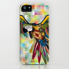 harlequin parrot iPhone & iPod Case by Sharon Turner - $35.00 #harlequin #parrot #macaw #color #iPhone #society6 #sharonturner #feather #pixel #rainbow #tech #tropical