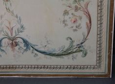 french paneling | Pair Large French Painted Canvas Panels image 4