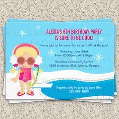 Winter Pool Party Invitation - Girl Swim Party Invitation - Kids Pool Party - Indoor Pool Party Printable DIY Invitation. $9.50, via Etsy.