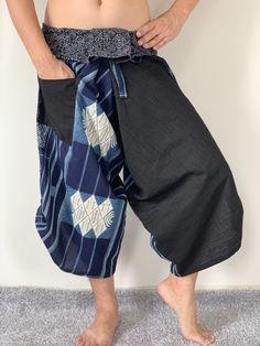 Items similar to Samurai Pants Harem pants have fisherman pants style wrap around waist on Etsy Gypsy Pants, Boho Pants, Pants Style, Jumpsuit Pattern, Jacket Pattern, Yoga Trousers, Harem Pants, Samurai Pants, Thai Pants