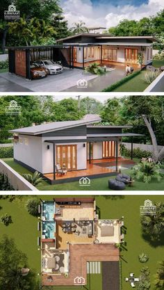 Modern, Villa-Style Single Storey House With Two BedroomsYou can find Modern house design and more on our website.Modern, Villa-Style Single Storey House With Two Bedrooms Single Floor House Design, Simple House Design, Tiny House Design, Small Modern House Exterior, Simple Bungalow House Designs, Simple House Interior Design, Modern Roof Design, Modern Bungalow House Design, House Roof Design