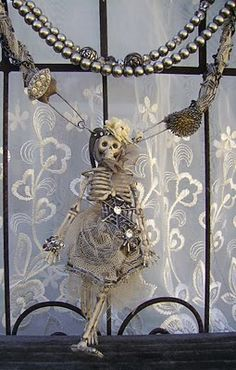 """Romancing the Bling: One of a Kind Vintage Assemblage """"Fem"""" meets """"Goth"""" Necklace Halloween Jewelry, Halloween Skeletons, Holidays Halloween, Spooky Halloween, Vintage Halloween, Halloween Crafts, Happy Halloween, Halloween Ideas, Halloween Stuff"""