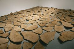 "Bryan Nash Gill - Oak Slabs - Oak wood, h: 24' 10"" x w: 10"" x w: 30' 8"", Installation at Real Art Ways, 2001, photo by John Groo"